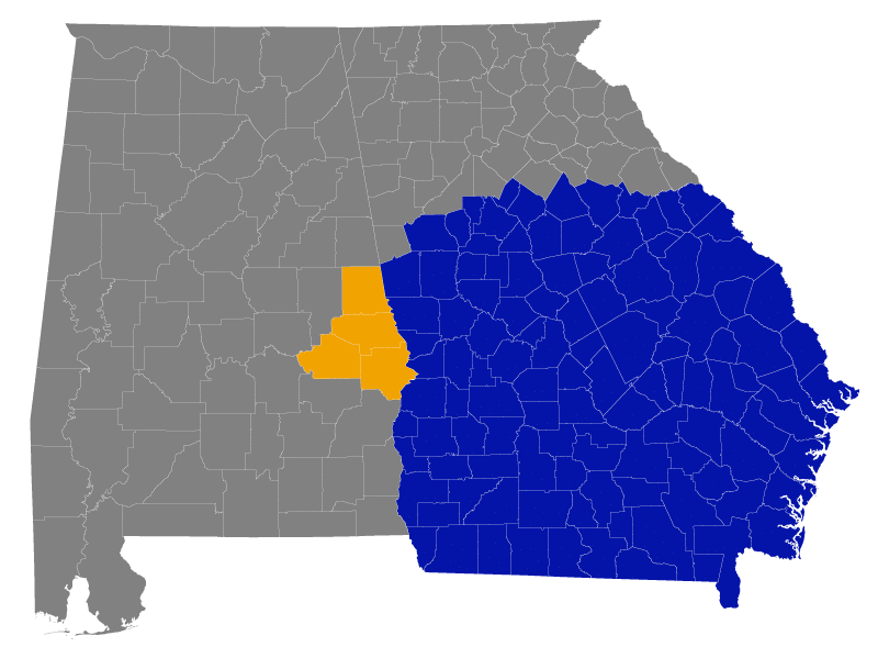 Map of Georgia and Alabama showcasing the River Mill Data Management service area. Counties served in Georgia represented with blue and counties in Alabama served represented in Yellow.